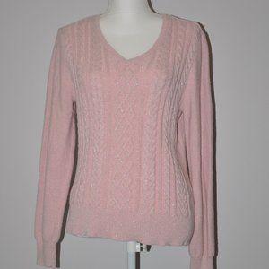 Pink Sparkle v neck sweater